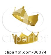 Royalty Free RF Clipart Illustration Of A Digital Collage Of Two Golden Royal Crowns by Mopic