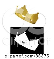 Royalty Free RF Clipart Illustration Of A Digital Collage Of A 3d Gold Crown And Black And White Version