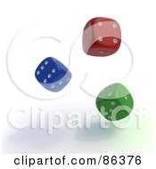 Royalty Free RF Clipart Illustration Of 3d Colorful Random Rolling Dice by Mopic