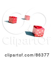 Royalty Free RF Clipart Illustration Of Three 3d Red Dice With Shadows by Mopic