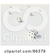 Royalty Free RF Clipart Illustration Of Scattered White And Black 3d Dice by Mopic