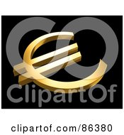 Royalty Free RF Clipart Illustration Of An Angled View Of A 3d Golden Euro Currency Symbol On Black