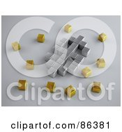 Royalty Free RF Clipart Illustration Of A Silver 3d Cubes Forming A Dollar Symbol Surrounded By Gold Cubes by Mopic
