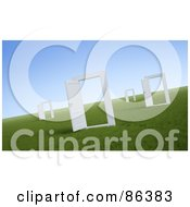 Royalty Free RF Clipart Illustration Of A Field Of Open Doorways by Mopic
