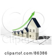 Royalty Free RF Clipart Illustration Of A Bar Graph Of Houses Depicting Growth With A Green Arrow by Mopic