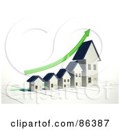 Royalty Free RF Clipart Illustration Of A Bar Graph Of Homes Depicting Growth With A Green Arrow by Mopic