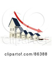 Royalty Free RF Clipart Illustration Of A Bar Graph Of Houses Depicting Bankruptcy With A Red Arrow by Mopic
