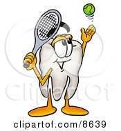 Clipart Picture Of A Tooth Mascot Cartoon Character Preparing To Hit A Tennis Ball