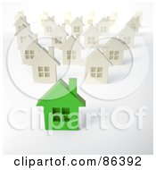 Royalty Free RF Clipart Illustration Of A Green 3d Home In A Neighborhood Of White Homes by Mopic