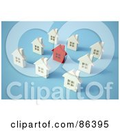 Royalty Free RF Clipart Illustration Of A Red Home Surrounded By White Houses In A Neighborhood by Mopic