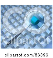 Royalty Free RF Clipart Illustration Of A Magnifying Glass Zooming In On A Home In A Neighborhood