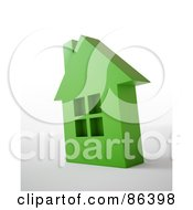 Royalty Free RF Clipart Illustration Of A 3d Green Residential Home Over White And Gray by Mopic