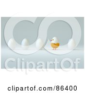 Royalty Free RF Clipart Illustration Of A Chick Hatching From A Row Of Eggs