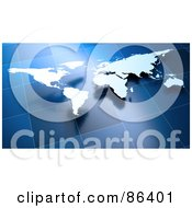 Royalty Free RF Clipart Illustration Of A Floating Continent Map Over Blue Tiles