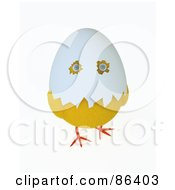 Royalty Free RF Clipart Illustration Of A 3d Baby Chick With Eye Holes Through An Egg Shell