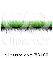 Royalty Free RF Clipart Illustration Of A Digital Collage Of Strips Of Green And Black Grass Over White by Mopic
