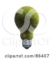 Royalty Free RF Clipart Illustration Of A Grassy Electric Light Bulb