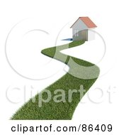 Royalty Free RF Clipart Illustration Of A Grassy Path Leading To A 3d Home by Mopic