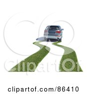 Royalty Free RF Clipart Illustration Of A 3d Car Leaving A Grassy Path Behind