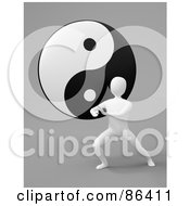 Royalty Free RF Clipart Illustration Of A 3d White Figure Exercising In Front Of A Yin Yang by Mopic