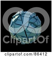 Royalty Free RF Clipart Illustration Of A Blue 3d Sphere Made Of Triangular Particles by Mopic