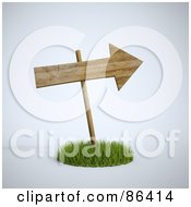 Royalty Free RF Clipart Illustration Of A 3d Wooden Arrow Sign In A Circle Of Grass by Mopic