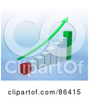 Royalty Free RF Clipart Illustration Of A Green Arrow Curving Upwards Over A Bar Graph by Mopic