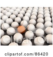 Royalty Free RF Clipart Illustration Of A 3d Orange Golf Ball In A Crowd Of White Balls by Mopic