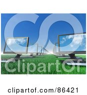 Royalty Free RF Clipart Illustration Of 3d Computers Lined Up On A Grassy Field by Mopic