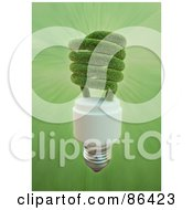 Royalty Free RF Clipart Illustration Of A 3d Grassy Electric Spiral Light Bulb