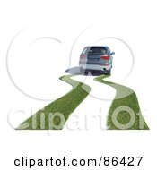 Royalty Free RF Clipart Illustration Of A Grassy Path Behind A Hybrid Car