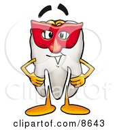 Clipart Picture Of A Tooth Mascot Cartoon Character Wearing A Red Mask Over His Face by Toons4Biz