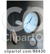 Royalty Free RF Clipart Illustration Of 3d Hanging Wall Clocks Over Gray