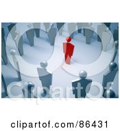 Royalty Free RF Clipart Illustration Of A Circle Of Silver People Around A Red Person by Mopic