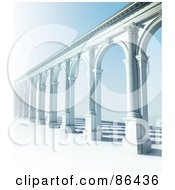 Royalty Free RF Clipart Illustration Of A 3d Classic Arcade Of Columns Over Blue by Mopic