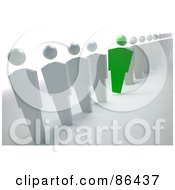 Royalty Free RF Clipart Illustration Of A Green Unique Businessman Leaning Out Of A Line Of White People by Mopic