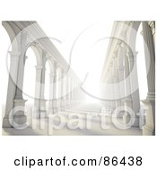 Royalty Free RF Clipart Illustration Of A Bright Light Shining Down Columnar Arcades
