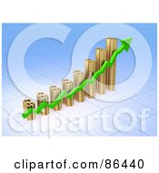 Royalty Free RF Clipart Illustration Of A 3d Golden Dollar Symbol Bar Graph With A Green Arrow by Mopic