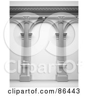 Royalty Free RF Clipart Illustration Of A 3d Arcade Of Columns by Mopic