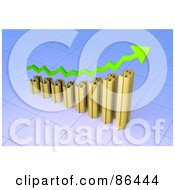 Royalty Free RF Clipart Illustration Of A 3d Gold Dollar Symbol Bar Graph With A Green Arrow