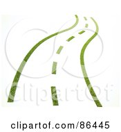 Royalty Free RF Clipart Illustration Of A 3d Grassy Road With Dotted Lines