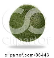 Royalty Free RF Clipart Illustration Of A Floating 3d Grass Orb With A Shadow by Mopic
