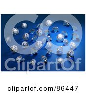 Royalty Free RF Clipart Illustration Of 3d Diamonds Scattered Over Blue