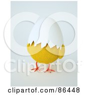 Royalty Free RF Clipart Illustration Of A Yellow Chick With An Egg Shell Covering His Face