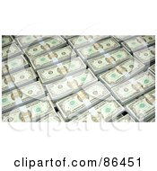 Royalty Free RF Clipart Illustration Of A Background Of Bundled Dollars by Mopic