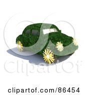 Royalty Free RF Clipart Illustration Of A Grassy Slug Bug Car With Flower Wheels And Lights