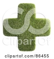 Royalty Free RF Clipart Illustration Of A Grassy Green Cross Over White by Mopic