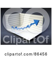 Royalty Free RF Clipart Illustration Of A Box Graph With A Blue Increase Arrow by Mopic