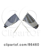 3d Crossed Racing Flags Over White