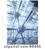Royalty Free RF Clipart Illustration Of A Cubic 3d Network